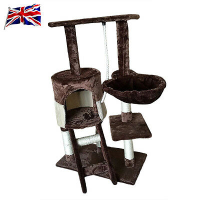 UK Pet Toys Scratching Cat Climbing Trees (Brown + Beige Stitching Paragraph)