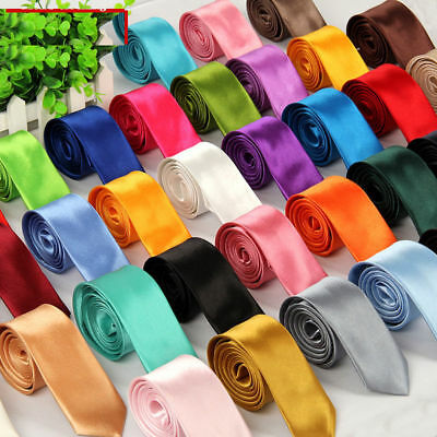 Mens Skinny Solid TIE Wedding Party Thin Narrow Slim Formal Men's Neck Tie