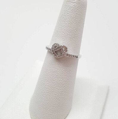 Infinity Knot Heart Clear CZ Promise Ring .925 Sterling Silver Sizes 4-9 NEW
