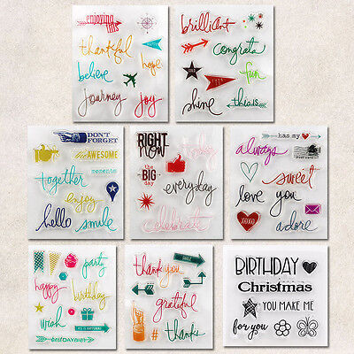 Colorful Alphabet Transparent Silicone Clear Stamp Cling Seal Scrapbooking DIY