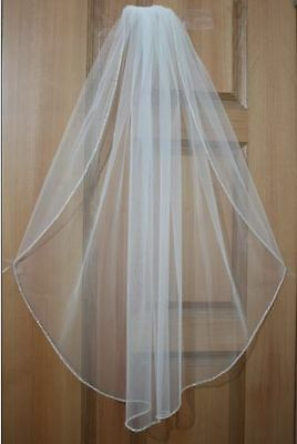New 1 Tier Elbow Rhinestone Edge White/Ivory Bridal Wedding Bride Veil With Comb