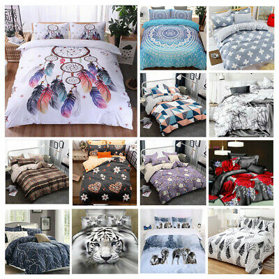 2020 New Soft Doona Duvet Quilt Cover Set Single Double Queen King Size Bed