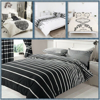 New PolyCotton Doona Duvet Quilt Cover Set Single Double Queen King Size Bed
