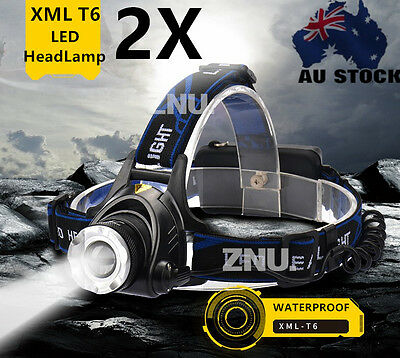 2800LM 2X XML LED Headlamp Head Light Torch Lamp+18650 Battery+Charger AU STOCK