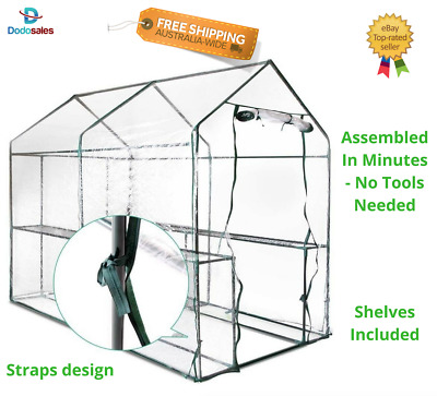 Garden Walk In Greenhouse Hot House Clear Protect Plant Seedling Flower 4 Shelf