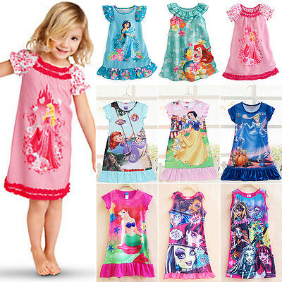 Girls Kids Casual Cartoon Princess Nightdress Pajamas Sleepwear T-shirt Dress