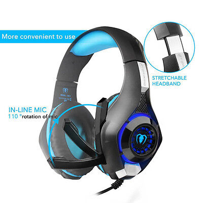 Gaming Ear-Cup  3.5mm Jack Game Headphone Mic LED Light For PC PS4 Xbox 1 Tablet