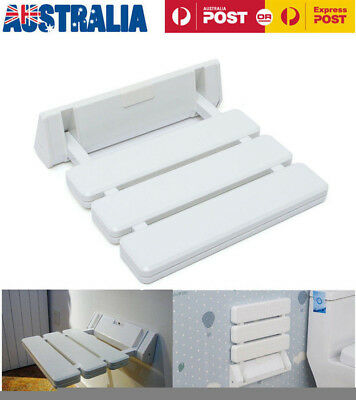260Kg  Folding Wall Mounted Shower Seat White Chair Foldaway Disabled Mobility