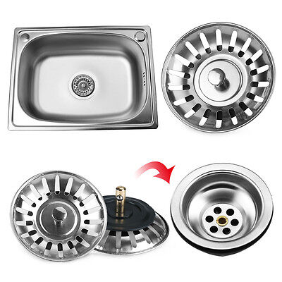 2pcs Replacement Kitchen Sink Strainer Waste Plug Basin Stainless Steel Drainer