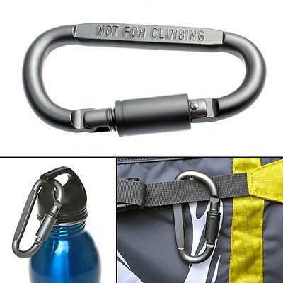 D-Shaped Aluminum Screw Lock Hook Clip Keyring Carabiners Outdoor Camping Sport
