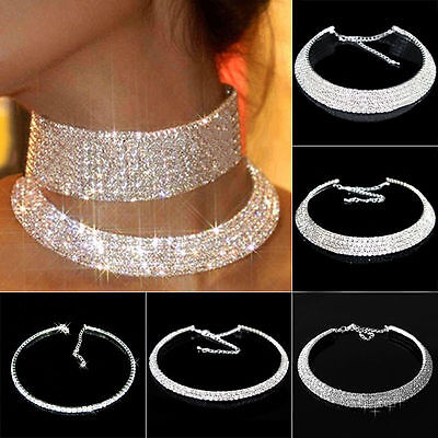 Women Crystal Diamante Rhinestone Necklace Silver Wedding Party Choker Chain UK