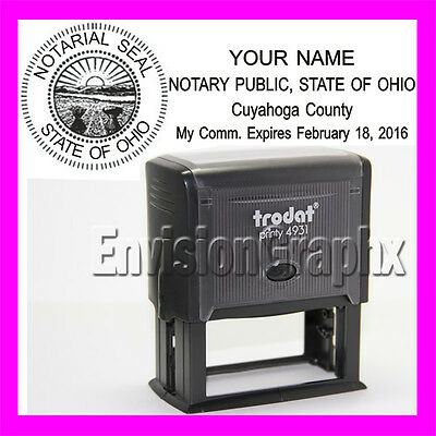 Custom Official NOTARY PUBLIC OHIO Self Inking Rubber Stamp T4931 black