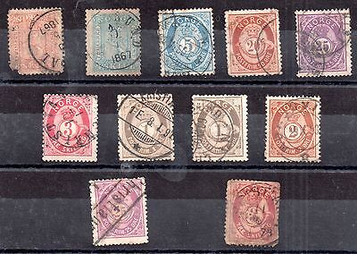 Norway 1863-1878 used mixed collection x 11v ZZ2260