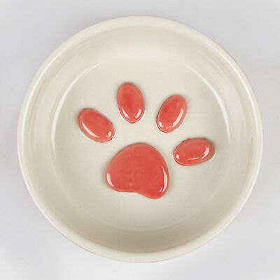 Sass & Belle Ceramic Red & White Paws Small Pet Food Bowl 13cm x 4cm