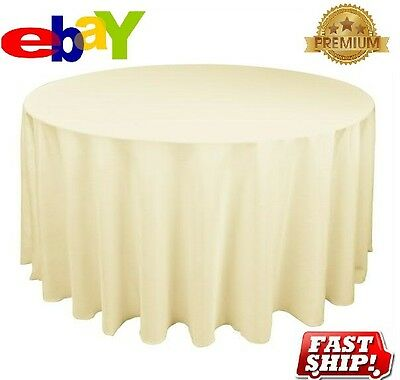 1 New Premium Ivory Restaurant Wedding Linen Table Cloths Poly Round 90""