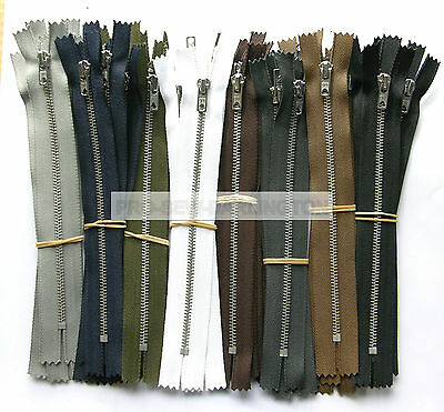 5 x SILVER METAL TEETH TROUSER & JEANS ZIPS CLOSED ENDED ( 9 COLOURS & LENGTHS )