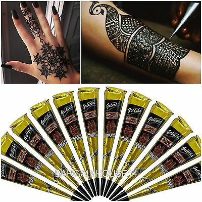 100% Pure Black Henna Mehndi Temporary Tattoo Cones + Henna Book + Gold Glitter
