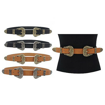 Womens Narrow Double Western Vintage Buckle Fashion Belt IW2801