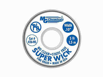 MG Chemicals 426-NS Series #4 Blue No Clean Super Wick Desoldering Braid 5'