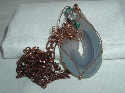 Vintage Agate Slice Handcrafted Artisan Necklace Double Copper Chain
