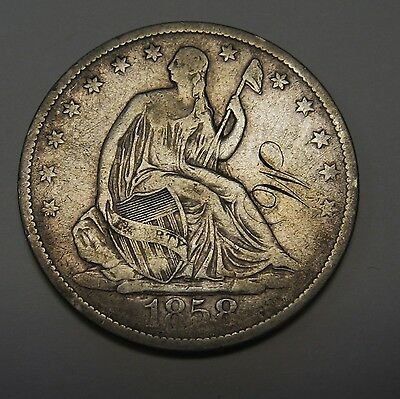 "1858 O Seated Liberty Silver Half Dollar Fine Details ""W"" Engraved   G7915"