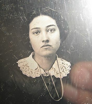 Antique American Beauty Daguerreotype Ethnic Young Lady Dark Raven Eyes Photo