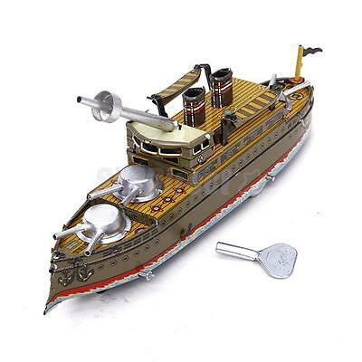 Vintage Wind Up Battleship Ship Tin Toy Clockwork Collectible Gift Reproduction