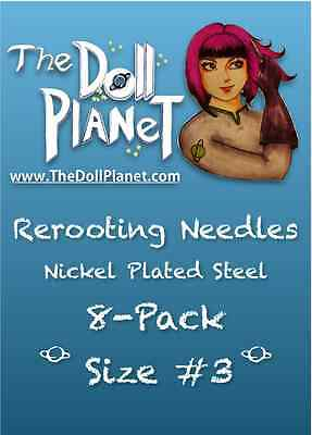 Size #3 8-Pack Steel Cut Needles for Re-rooting Large Headed Dolls Blythe Crissy