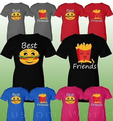 Couple T-Shirts Matching BFF Burger&Fries Best Friends Couple Love T-Shirts BFF