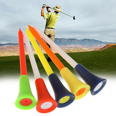 50pcs Plastic & Rubber Cushion Top Golf Tees Golf Tool (72mm Large) Colorful