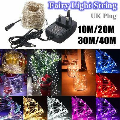 100-400 LED Micro Silver Wire String Fairy Lights Party Xmas Wedding UK Plug
