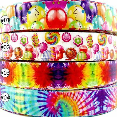 """2 Metre Abstract Theme Grosgrain Ribbon Craft Sewing Decoration Packing 1""""(25mm)"""