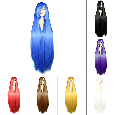 Women Fashionable 100CM Long Straight Synthetic Lolita Cosplay Party Wig SW