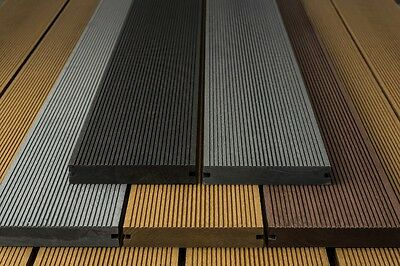 WPC Wood Composite Plastic Solid Decking Boards 150mm x 25mm Black Brown Grey