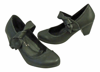 Black Vintage Style 1930's 1940s WW2 WWII Wartime Mid Heel Mary Jane Court Shoes