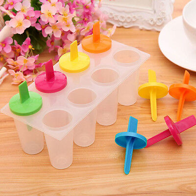 8 Cell Pop Mold Popsicle Maker DIY Lolly Mould Tray Pan Freezer Ice Cream Tools