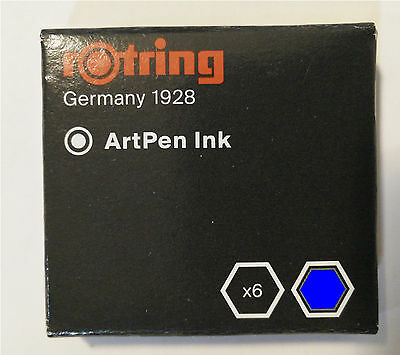 Rotring Artpen Royal Blue Ink Cartridges (Pack of 6) - S0194681