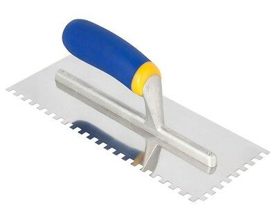 Stainless Steel Tile Trowel Comfort Rubber Grip Square-Notch 1/4 in. x 1/4 in.