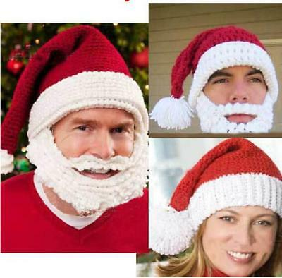 Cotton Red&White Santa Claus Hat With Attached Beard Photo Booth Party Christmas