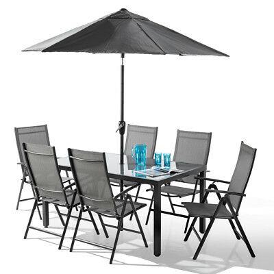 Santorini Garden Patio Furniture Set 6 Seater 100% Aluminium - 8 Piece Set