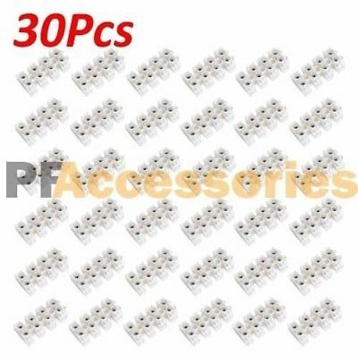 30 Pcs 10A 380V Dual Row 4 Positions Terminal Strip Block Wire Connector Barrier