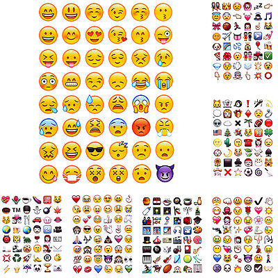 5PCS 48 Emoji Stickers Funny Humorous Smile Face Stickers For Notebook Instagram