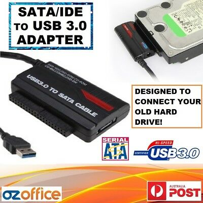 "USB 3.0 to SATA IDE 2.5"" 3.5"" HDD Adapter + Power - Connect Your Old Hard Drive!"