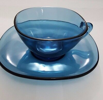 Vintage Vereco Blue Glass Cup And Saucer