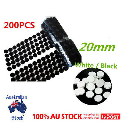 """200x 20MM/0.7"""" Self Adhesive Dots Coins Hook & Loop Tape Scratch Dots Stick On"""