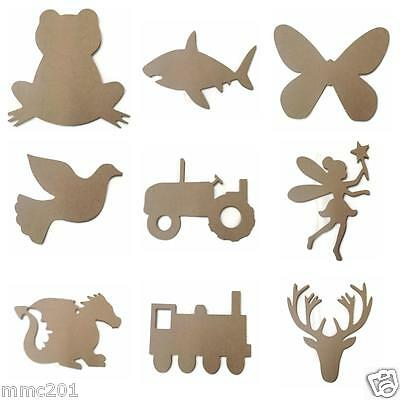Wooden MDF Shapes Butterfly Frog Dragon Stag Shark Fairy Train Tractor Dove
