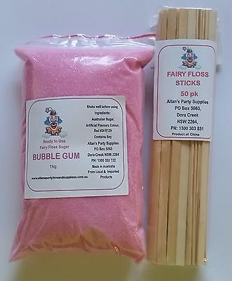Fairy Floss Sugar & Sticks 50 Serve Kit, Bubble GUm, Fairy Floss Machine,