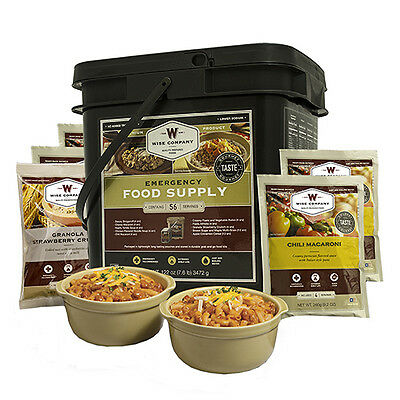 Wise Foods Grab n Go Bucket Breakfast and Entrée, 56 Servings Emergency Prepper