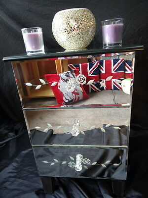 Vintage Venetian Style Beveled Mirrored Glass Nightstand Bedside Cabinet