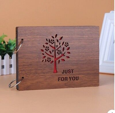 """DIY 30Pages 8"""" 22 x 16cm Wood Cover 2 Rings Photo Album Scrapbook JUST FOR U"""